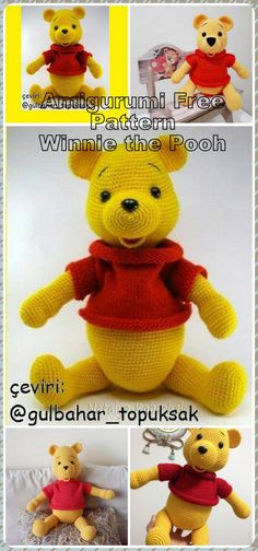 In this article we will share the amigurumi winnie the pooh crochet free pattern. Amigurumi related to everything you can not find and share with you. Toys Patterns winnie the pooh Minion Crochet Patterns, Amigurumi Patterns, Amigurumi Doll, Winnie The Pooh, Crochet Toys, Free Crochet, How To Start Knitting, Stuffed Animal Patterns, Yarn Colors