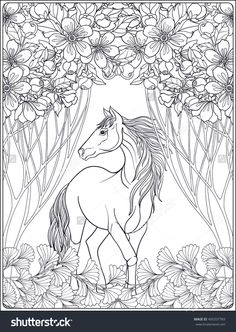 Horse In The Forest Coloring Page For Adults Shutterstock 450337783