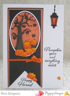 Cute Pumpkin, Pumpkin Crafts, Memory Box Cards, Twisted Tree, Orange Paper, Hanging Lanterns, The 5th Of November, Thanksgiving Cards, Fall Cards