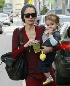Jessica Alba and her child.