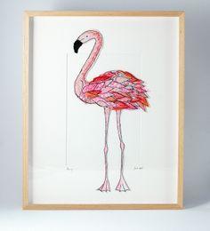 flamingo, textile art by sarah dodd (lotus blossom)