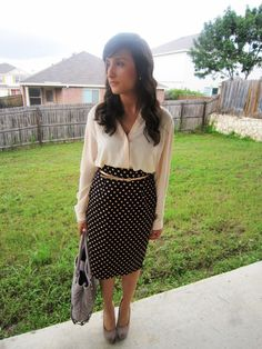Polka dot skirt, chiffon blouse, gold belt ....Different shoes and bag.