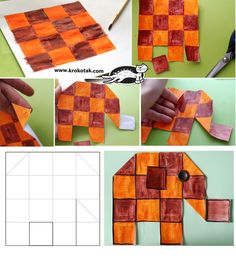 Elephant Paper Craft-picture tut and template at this link. Any color or design, easy and cute.