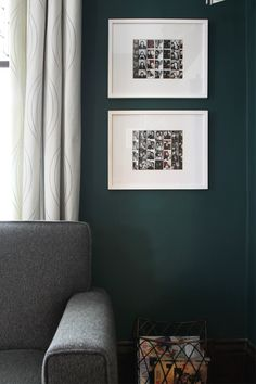 My Dark Teal Living Room — Deuce Cities Henhouse - framed photo booth strips