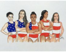 Woman's Gymnastic Team USA Rio 2016 Original Drawing as posted by Aly Raisman on Instagram