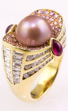 MAUBOUSSIN Natural Pearl Pink & White Diamond Ruby Gold Ring.