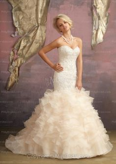 Mermaid Sweetheart Ruffled Tulle Sweep Train Wedding Dress at Millybridal.com