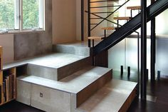 Viroc - monolithic board made from wood chips and cement Residential Architecture, Modern Architecture, Staircase Storage, Precast Concrete, Energy Efficient Homes, Stone Flooring, Modern House Design, Small Spaces, Stairs
