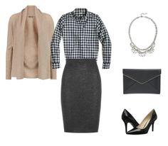 gingham shirt - taupe cardigan - gray skirt