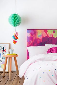 Watercolour Bedheads Unsatisfied with lack of inspiring bedheads that the industry had to offer, interior decorator and upholsterer, Merryn Paul partnered with Sarah Falzon – a marketing expert – to. Home Bedroom, Girls Bedroom, Bedroom Decor, Estilo Interior, Deco Design, Fashion Room, Interior Design Inspiration, Girl Room, Decoration