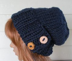 Amanda - Womens Hat Knit Slouch Navy Blue with Buttons by TikiFiberCrafts, $34.00