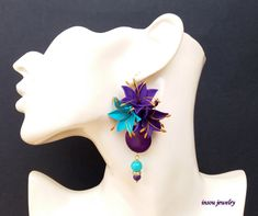 Purple Earrings, Statement Earrings, Dangle Earrings, Flower Earrings, Elegant Earrings, Turquoise Earrings, Unique Earrings, Gift For Her