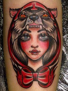 Little Red Riding Hood slays the Big Bad Wolf. Tattoo by Rachel McCarthy at Modern Body Art in Birmingham, UK (I think this is BAD! Just like that wolfie! Wolf Tattoos, Body Art Tattoos, I Tattoo, Brave Tattoo, Frida Tattoo, Tattoo Flash, Small Tattoos, Tattoo Girls, Girl Tattoos