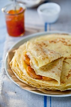 crepes w. lavender honey + roasted persimmons