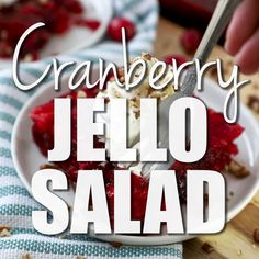 Easy, festive Cranberry Jello Salad with pineapple and raspberry gelatin. Three fruit flavors combine to make a gorgeous red fruit dessert that you can serve with a dollop of whipped cream. Sour Cream Desserts, Jello Desserts, Jello Recipes, Fruit Dessert, Delicious Desserts, Cranberry Salad Recipes, Cranberry Jello, Cranberry Cheese, Raspberry Jello Salad