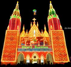 The Shrine Basilica of Our Lady of Dolours in Trichur, India, built in 1929, decorated in colorful lights on 25 November every year.