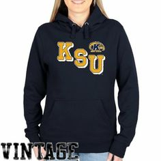 Kent State Golden Flashes Ladies Acronym Pullover Hoodie - Navy Blue