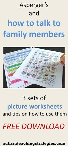Here are three sets of appealing picture-based worksheets to help kids with ASD to start conversations with family members.  Instructions on how to use them are included.  This was pinned by pinterest.com/joelshaul/ Follow all our boards.