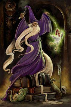 m Wizard N purple robes hat underdark dungeon casting Fantasy Wizard, Fantasy Art, Magical Creatures, Fantasy Creatures, Merlin, Wizard Tattoo, Roi Arthur, Tarot Gratis, Fable
