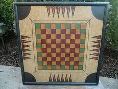Primitive Wood  Carrom / Checkerboard Game Board by JohnnyUNamath