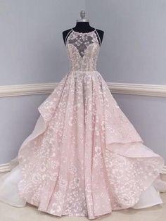 A-line Spaghetti Straps Sweep/Brush Train Sleeveless Tulle Prom Dress/ - DemiDress.com