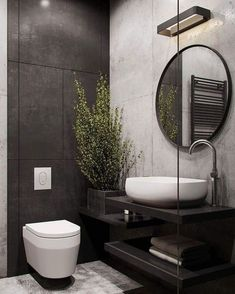 Learn how to update Learn how to update your bathroom even on a tight budget with these key principles and design ideas #bathroomdesignprinciples Modern Toilet Design, Toilet And Bathroom Design, Interior Design Toilet, Hotel Bathroom Design, Hotel Room Design, Bathroom Ideas, Bathroom Inspo, Black Interior Design, Design Bedroom