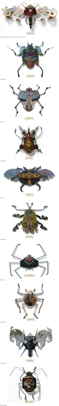 """Mark Oliver has created a series of insects called """"LitterBugs"""" brought to life entirely from trash; a species developed to adapt to the harsh, changing urban landscape. They are part of an invented genus, affectionately categorized in a document known as the """"compendium of carabid and terrestrial detritus""""  – each one having been given their own title and scientific name, some based off the found objects from which they are built."""