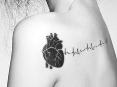 Medical heart heartbeat tattoo