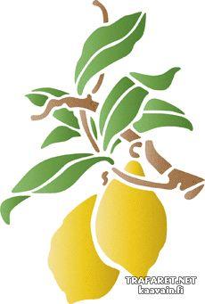 Citroner på en gren. Set om 6 st. • återanvändbara schablon till dekor. Grossist av stenciler. •
