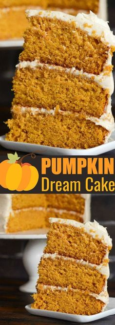 Pumpkin Dream Cake: three big layers of super moist pumpkin spiced cake, made completely from scratch, frosted with a sweet cinnamon maple cream cheese icing!