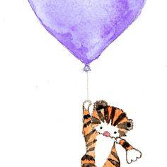 Baby Boy Kindergarten Kunst Tiger-Ballon-Druck Kinderzimmer