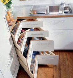 Corner drawers to save space