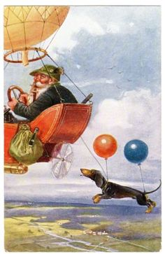POSTCARD-DOG-DACHSHUND-FLYING-WITH-BALLOONS