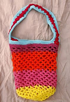 Bright & Colorful Small Size Mesh Market Bag - Crocheted by RecycledSerendipity on Etsy