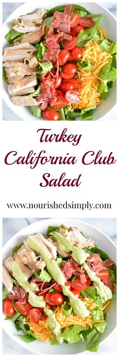 Club salads are one of the best healthy lunches for the summer. Cool and refreshing and no heating up the house with the oven. This Turkey California Club Salad a lower carb alternative to the classic sandwich. Healthy Muffin Recipes, Healthy Salad Recipes, Delicious Recipes, Amazing Recipes, Yummy Food, Healthy Eating, Healthy Food, Healthy Desserts, Healthy Lunches