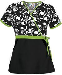 UA Edgy Bloom Black Mock Wrap Print Scrub Top with Side Tie