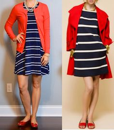 outfit post: striped navy swing dress, red cardigan, red ballet bow flats | Outfit Posts