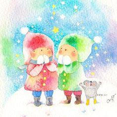星に願いを✨✨⭐️🌟🌙❄️☃️ 耳をすますとひそひそ声が👂🏻 「サンタさんがきますように🎁」 Twins wished upon the Gemini stars. We wish you a merry Christmas❄️🎄💝🌌 #夜空 #空 #星空 #sky #星に願いを 雪 #待ち遠しい #クリスマスイブ #プレゼント #スケッチ #水彩画 #水彩 #イラスト #star #ChristmasEve #present #winter #sketch #painting #drawing #illustration #art #watercolor #kawaii #sweet #christmas #Starrysky #snow #leadensky
