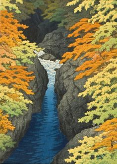 Azuma Gorge Kawase Hasui (Japan, 1883-1957) Japan, 1947 Prints; woodcuts Color woodblock print Image: 13 1/8 x 9 1/2 in. (33.34 x 24.13 cm); Sheet: 14 5/16 x 10 5/8 in. (36.35 x 26.99 cm) Gift of Chuck Bowdlear, Ph.D., and John Borozan, M.A. (M.2003.67.48) Japanese Art