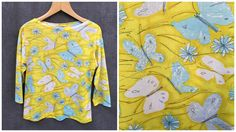 60's Vera Neumann Shirt Butterflies in Bright Yellow, White and Blues // Women's Med - Large (Vintage 16) by ElkHugsVintage on Etsy