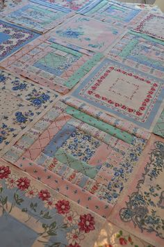 Love this fabric. Looks like vintage hankies paired with log cabin blocks. The hankies come on a fabric panel. Antique Quilts, Vintage Quilts, Vintage Fabrics, Vintage Linen, Handkerchief Crafts, Quilt Block Patterns, Quilt Blocks, Log Cabin Quilts, Vintage Handkerchiefs