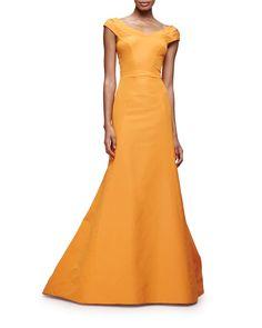 c4d90262a752 Zac Posen Split Cap-Sleeve Mermaid Gown