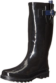 Nautica Womens Lovise Rain Boot BlackNavy 8 M US >>> Want additional info? Click on the image.(This is an Amazon affiliate link and I receive a commission for the sales)