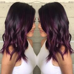 Love this color hairstyles in 2019 hair hair styles balayage. Bleach Hair Color, Hair Color Blue, Purple Balayage, Balayage Hair, Plum Hair, Purple Hair, Brown Hair Without Bleach, Hello Hair, Hair Addiction