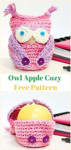 Crochet Owl Apple Cozy Free Pattern-Crochet Owl Ideas Free Patterns