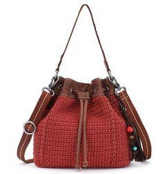Ukiah Crochet Small Drawstring -Sienna