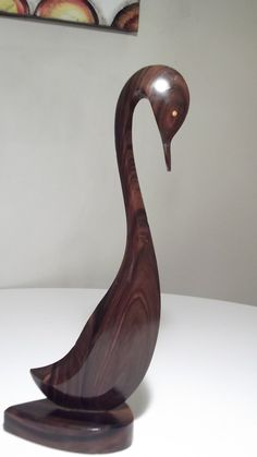 Mid-Century Wooden Carved Swan/Goose