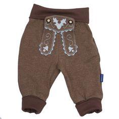 Babyhose im Lederhosenstil mit Stickerei in hellblau