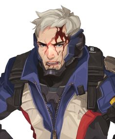 Soldier 76 by Mhaikkun Jack Morrison, Video Game Characters, Fictional Characters, Overwatch Fan Art, Overwatch Drawings, Widowmaker, Ship Art, Anime, Game Art