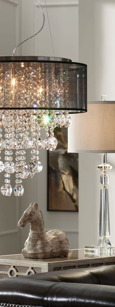Possini Euro Brushed Nickel Crystal Chandelier